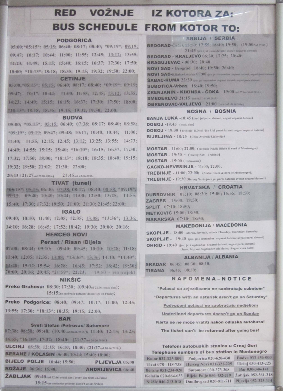 Черногория. Расписание автобусов и поездов. raspisanie