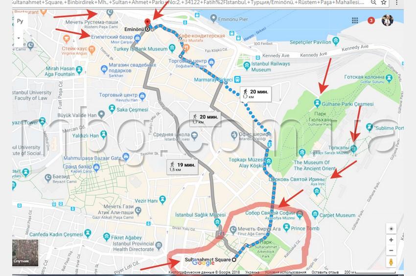 Карта с маршрутом от пристани Эминеню до площади Султанахмет