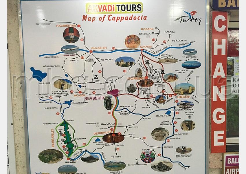 карта экскурсий каппадокии